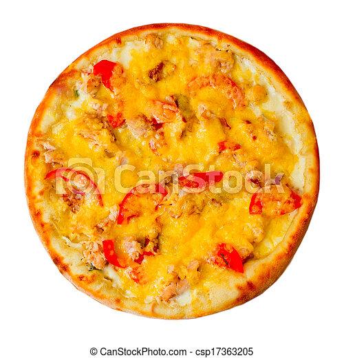 Apetizando pizza con queso aislado en el fondo blanco - csp17363205
