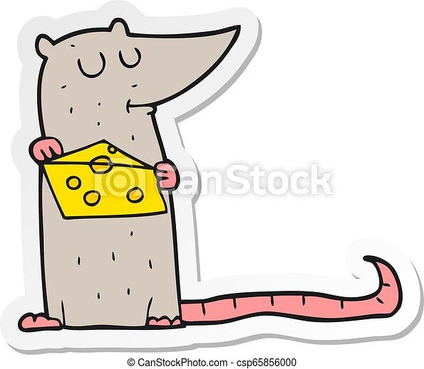 Pegatina de un ratón de dibujos animados con queso - csp65856000