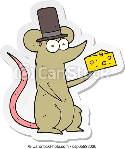 Pegatina de un ratón de dibujos animados con queso - csp65993038
