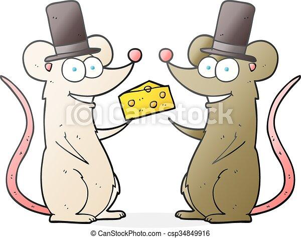Ratones De Cartón Con Queso Ratones Dibujados A Mano Libre
