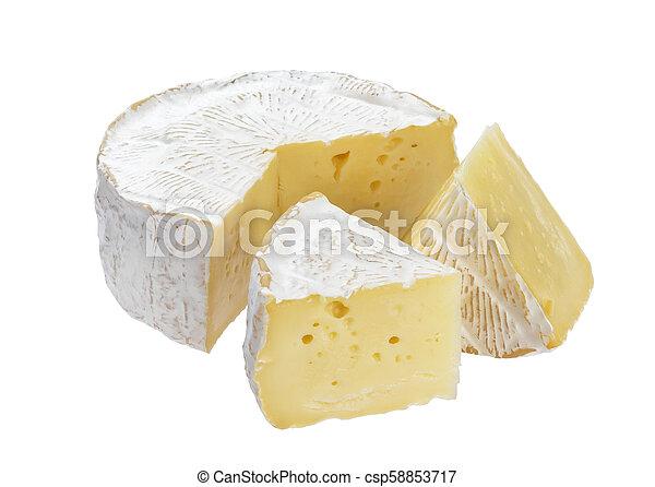 Queso camembert aislado en fondo blanco con camino de recorte - csp58853717