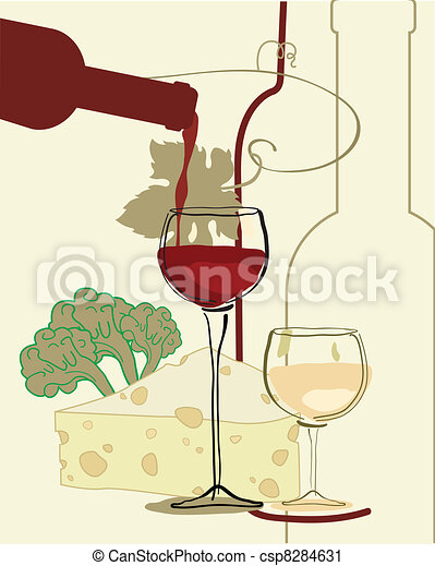 Un vaso de vino con queso - csp8284631