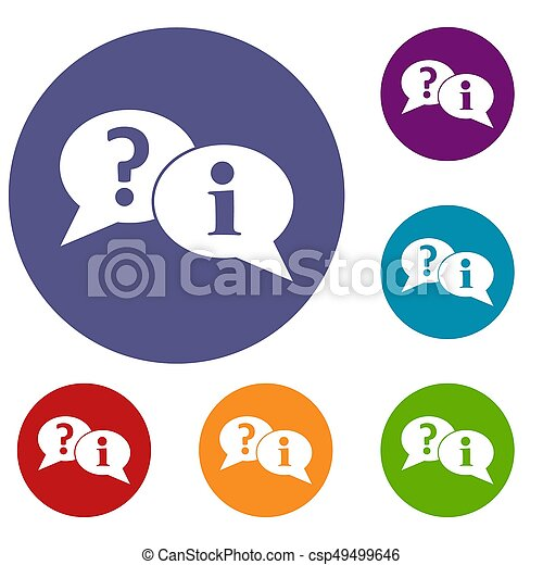 Question and exclamation speech bubbles icons set - csp49499646