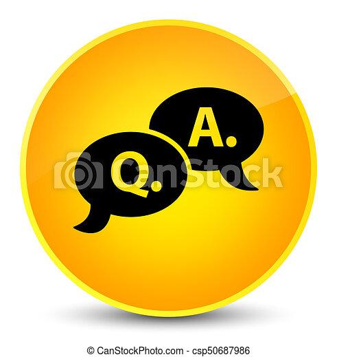 Question answer bubble icon elegant yellow round button - csp50687986