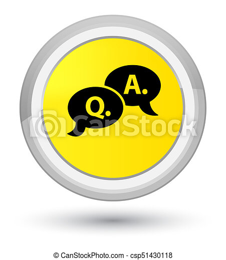 Question answer bubble icon prime yellow round button - csp51430118