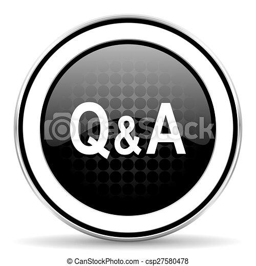 question answer icon, black chrome button - csp27580478