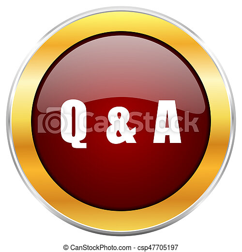 Question answer red web icon with golden border isolated on white background. Round glossy button. - csp47705197