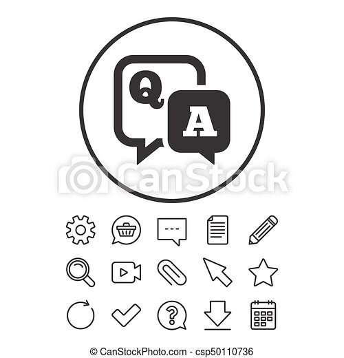 Question Answer Sign Icon Qa Symbol Document Chat And Paper Clip