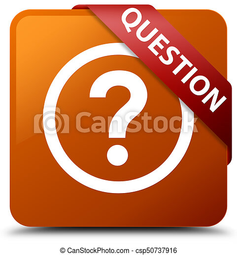Question brown square button red ribbon in corner - csp50737916