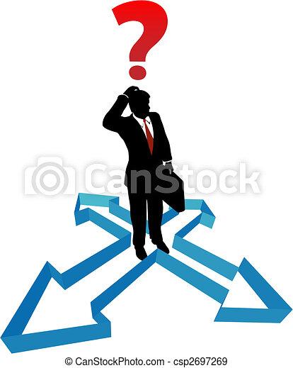 Question businessman indecision direction arrows - csp2697269