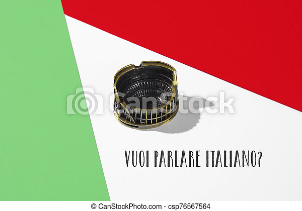 Question Do You Want To Speak Italian In Italian A Miniature Of The Colosseum Of Rome On A Background With The Colors Of