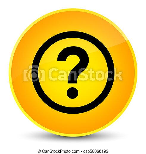 Question icon elegant yellow round button - csp50068193