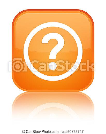 Question icon special orange square button - csp50758747