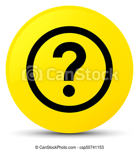Question icon yellow round button - csp50741153