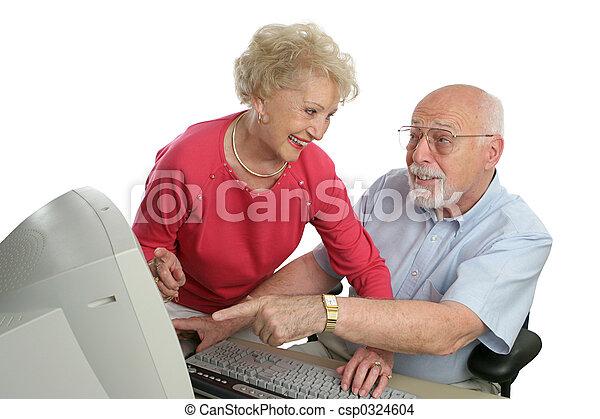 question, informatique, leçon, personne agee - csp0324604
