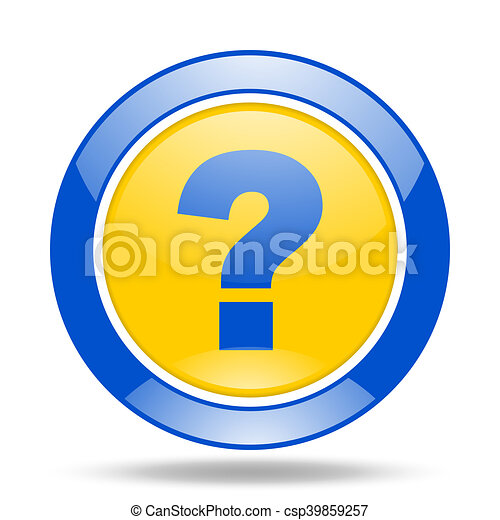 question mark blue and yellow web glossy round icon - csp39859257