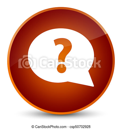 Question mark bubble icon elegant brown round button - csp50702928