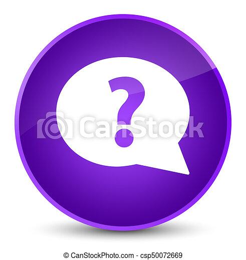 Question mark bubble icon elegant purple round button - csp50072669