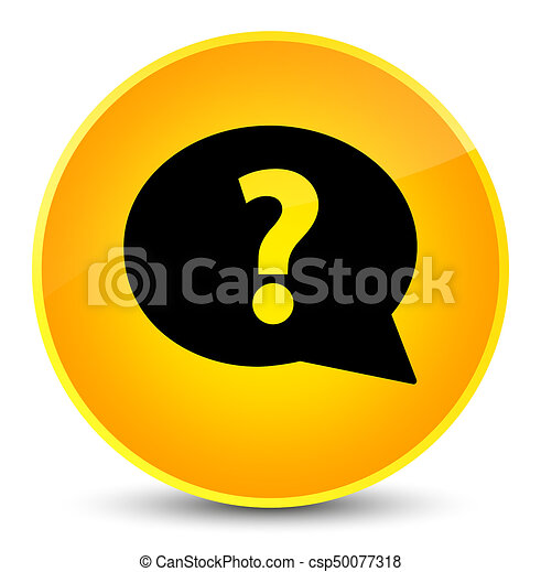 Question mark bubble icon elegant yellow round button - csp50077318