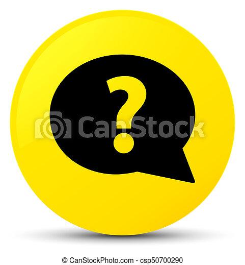 Question mark bubble icon yellow round button - csp50700290