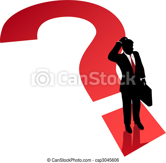 Question mark business man decision confusion problem - csp3045606