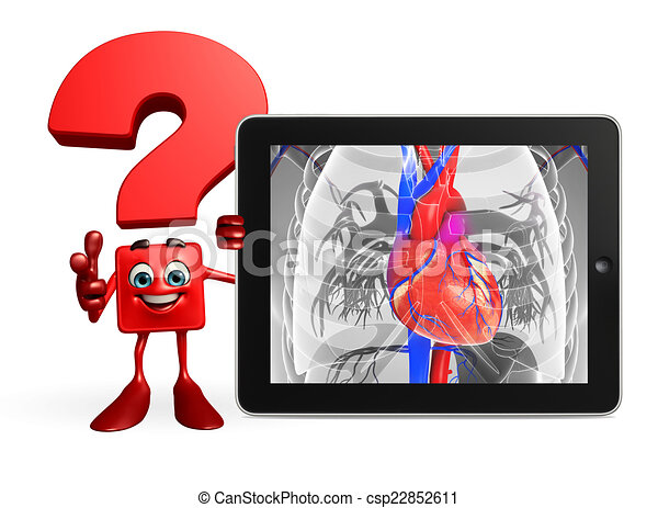 Question Mark Character With Heart Anatomy Cartoon Character Of