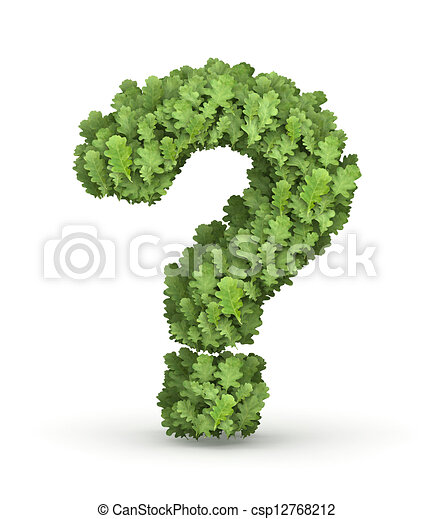 Question mark from green leaves