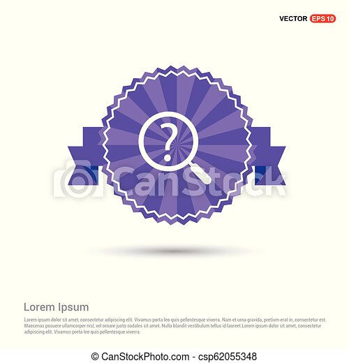 Question mark icon - Purple Ribbon banner - csp62055348