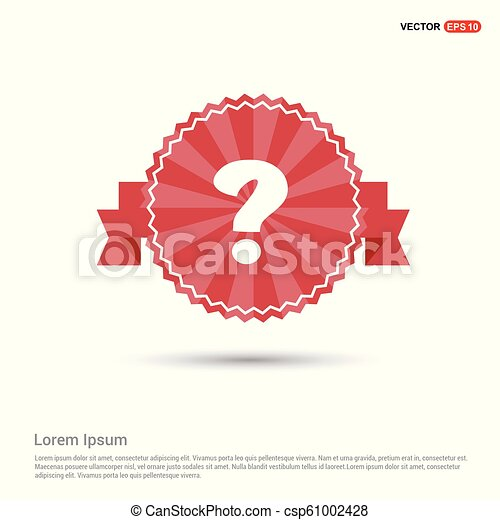 Question mark icon - Red Ribbon banner - csp61002428