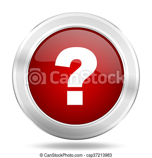 question mark icon, red round glossy metallic button, web and mobile app design illustration - csp37213983