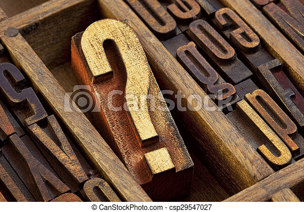 question mark in letterpress wood type - csp29547027