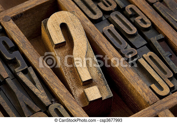 question mark in vintage letterpress type - csp3677993