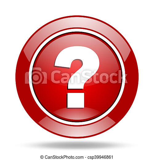 question mark red web glossy round icon - csp39946861