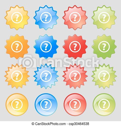 Question mark sign icon. Help speech bubble symbol. FAQ sign. Big set of 16 colorful modern buttons for your design. Vector - csp30464538
