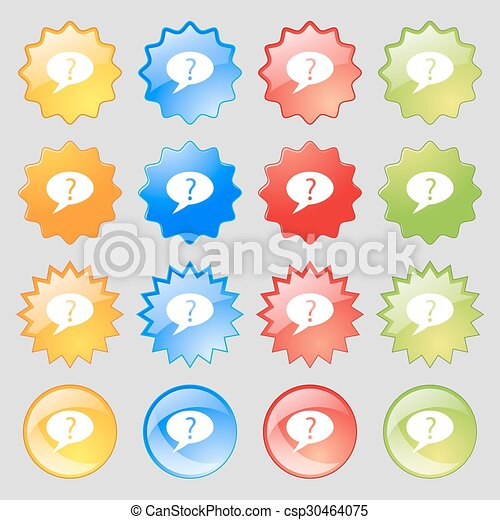 Question mark sign icon. Help speech bubble symbol. FAQ sign. Big set of 16 colorful modern buttons for your design. Vector - csp30464075
