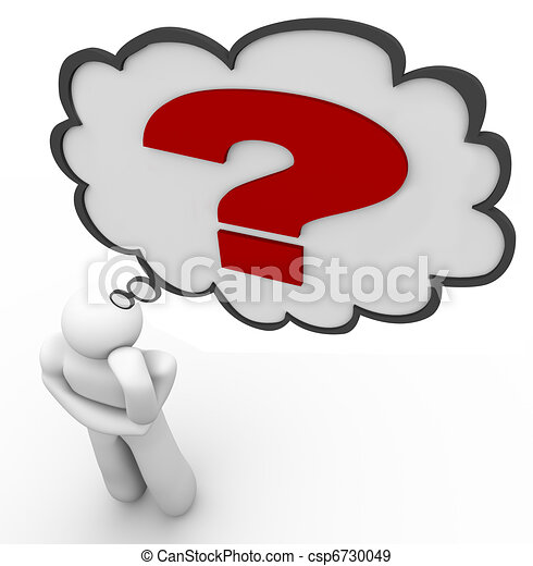 Question Mark Thinker Thought Bubble Thinking of Answer - csp6730049