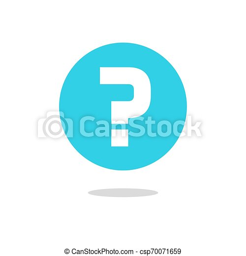 Question mark vector icon on blue round circle button isolated flat cartoon clipart - csp70071659