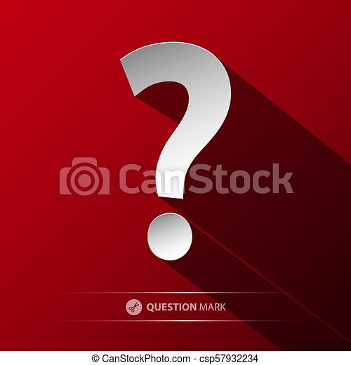 Question Mark Vector Symbol. Paper Cut Icon on Red Background. - csp57932234