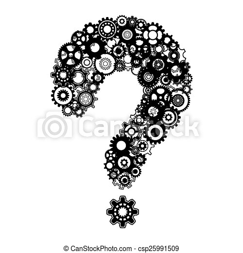 question mark with cog wheels abstract vector black question mark rh canstockphoto com question mark after variable c# question mark after please let me know
