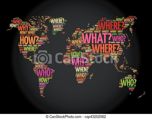 Question words world map in typography words cloud business concept question words world map in typography csp43202062 gumiabroncs Image collections