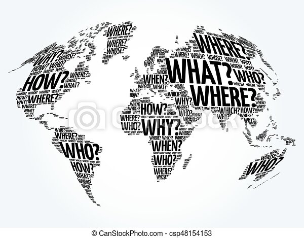 Question words world map in typography words cloud business concept question words world map in typography csp48154153 gumiabroncs Image collections