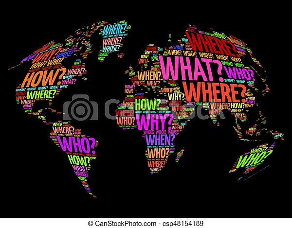 Question words world map in typography words cloud business concept question words world map in typography csp48154189 gumiabroncs Image collections