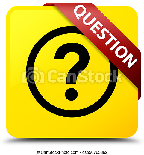 Question yellow square button red ribbon in corner - csp50765362