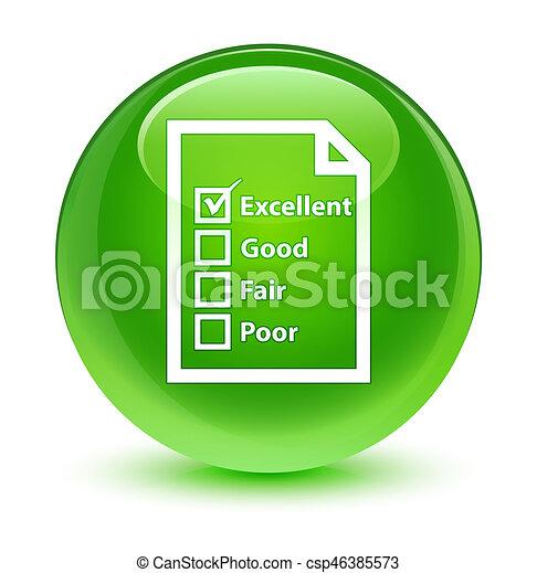 Questionnaire icon glassy green round button - csp46385573