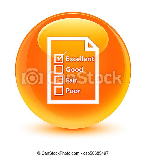 Questionnaire icon glassy orange round button - csp50685497