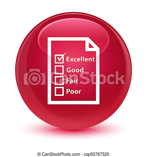 Questionnaire icon glassy pink round button - csp50767520