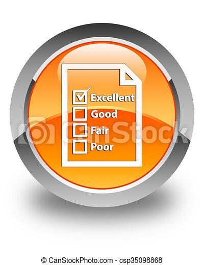 Questionnaire icon glossy orange round button - csp35098868