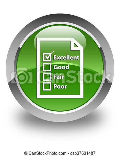 Questionnaire icon glossy soft green round button - csp37631487