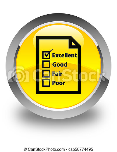 Questionnaire icon glossy yellow round button - csp50774495