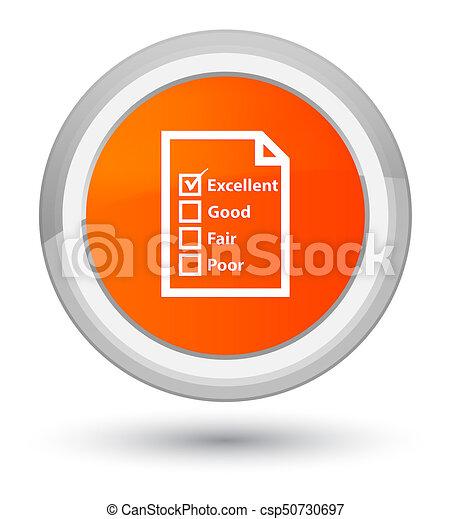 Questionnaire icon prime orange round button - csp50730697